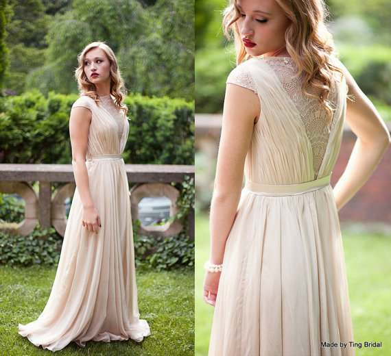 Smoked Peach Dress-custom Wedding Gown-can Be Also Made In Ivory ...