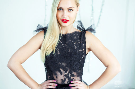 زفاف - Black lace evening dress, open back dress - New