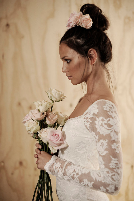 زفاف - Long lace sleeve wedding dress with stunning low back and silk chiffon train boho vintage bride - New