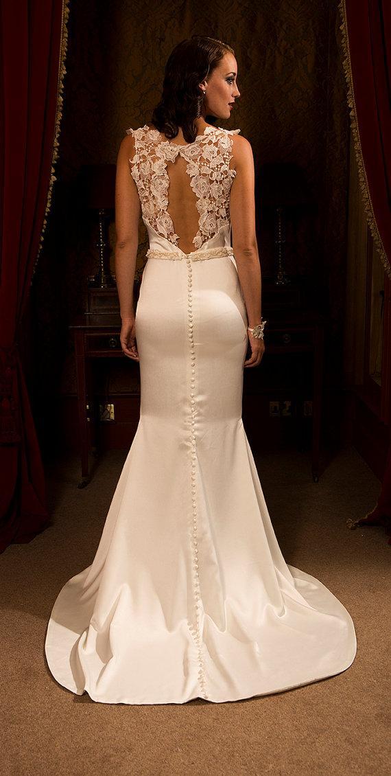 زفاف - Maia soft satin wedding dress with guipure lace detailing - New