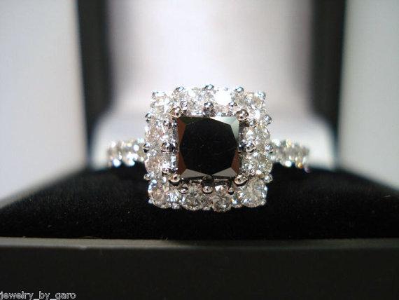 Свадьба - Princess Cut Black & White Diamond Engagement Ring 2.26 Carat 14K White Gold handmade - New