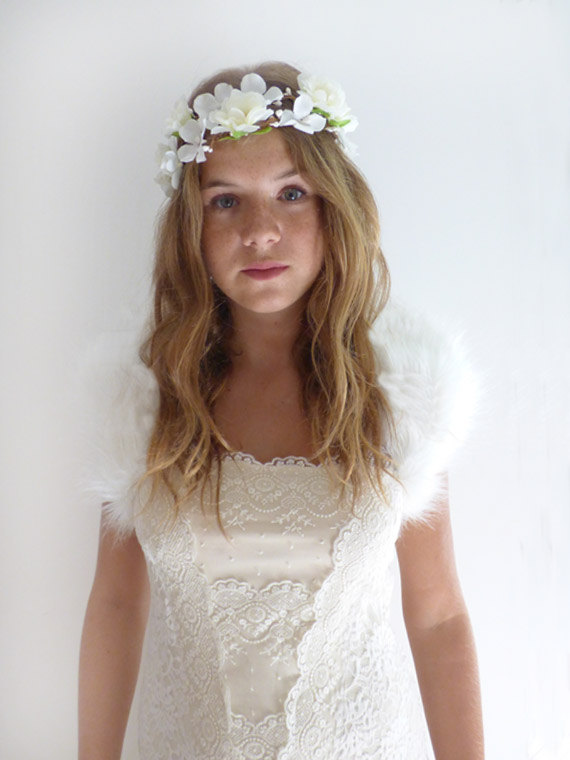 Wedding - MIRA Ivory Faux Fur Bolero Shrug Evening Cover - New