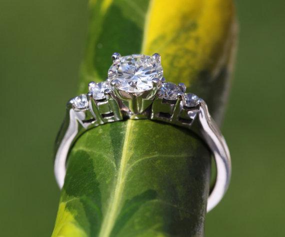 5 Stone Diamond Engagement Ring 14K White Gold Wedding Brides Engageme