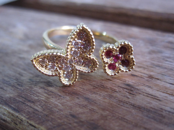 Mariage - Monarch Butterfly and Flower Ring in 14K Solid Gold - New