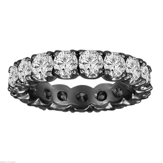 Hochzeit - 2.85 Carat Certified 14K Black Gold Vintage Style Wedding & Anniversary Eternity Diamond Band  Handmade - New