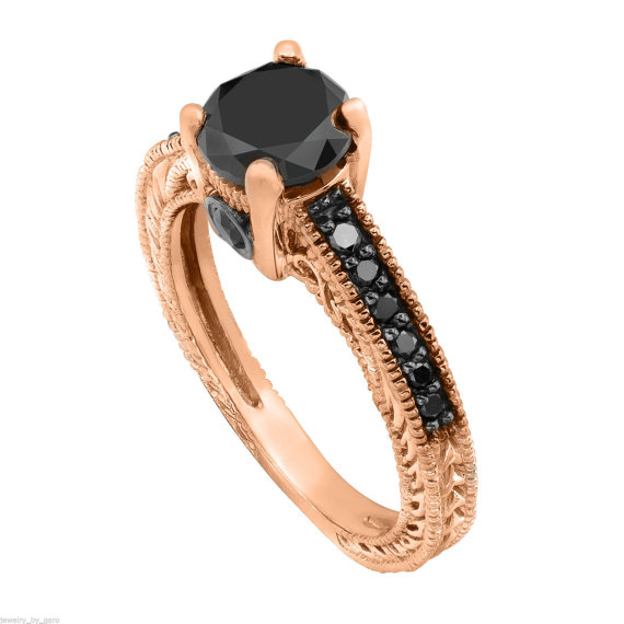 Mariage - Fancy Black Diamond Engagement Ring 14K Rose Gold 0.79 Carat Antique Vintage Style Engraved Pave Set HandMade Certified - New
