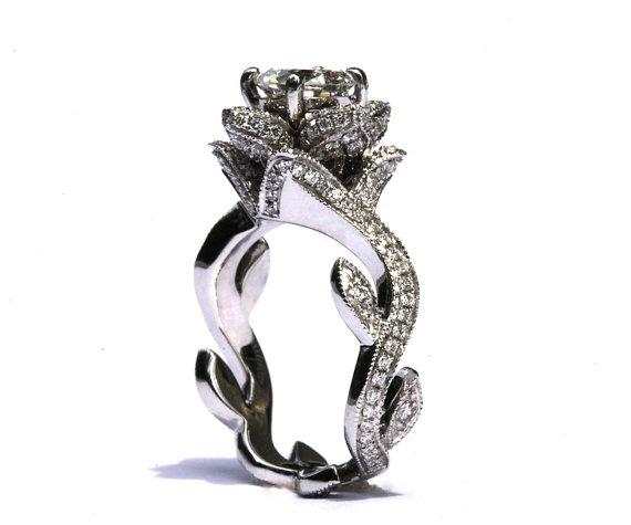 زفاف - BLOOMING Work Of Art - Platinum - Milgrain Flower Rose Lotus Diamond Engagement Ring - Beauty - SemiMount - Setting - fL07 - Patented design - New