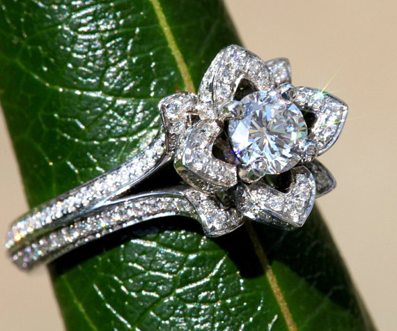 Wedding - UNIQUE Flower Rose Diamond Engagement Ring - blooming - 2 rows - 2.00 carat - 14K white, yellow or rose gold -  fL05 - New