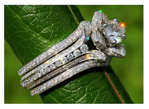 Wedding Set Gorgeous Unique Flower Rose Diamond Engagement Ring