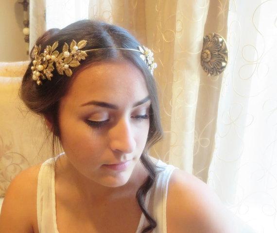 زفاف - Wedding headpiece, Bridal tiara, Wedding headband, Swarovski crystal headpiece, Antique brass leaves headband, Grecian head crown, Vintage - New