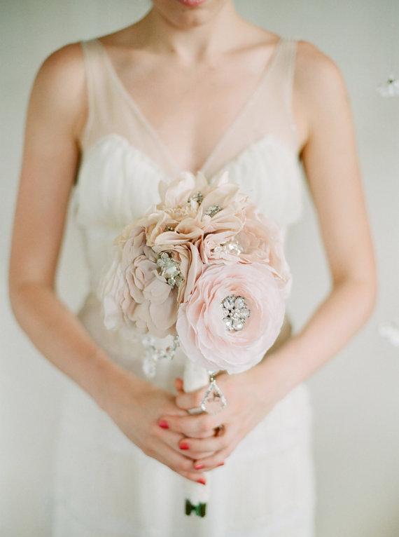 Свадьба - Crystal and Rhinestone Beaded Silk Bridal Bouquet, Medium size in Blush Pink - New