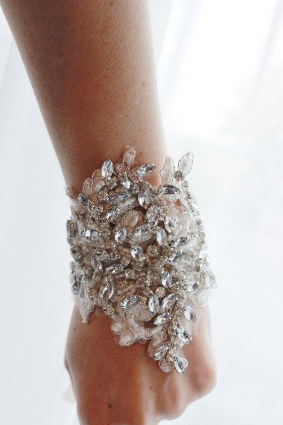 Bridal Rhinestone Cuff Bracelet Crystal Beaded Wedding