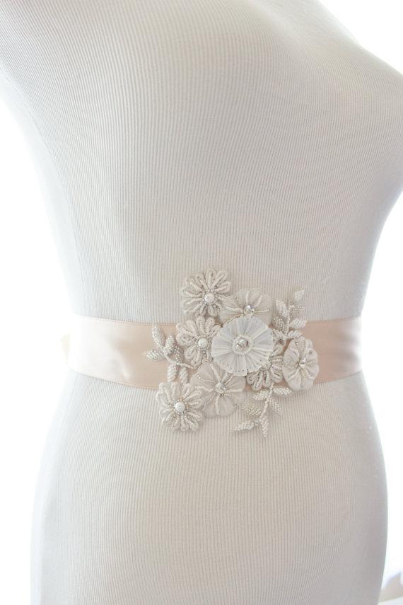 Hochzeit - Beaded Flower Crystal Bridal Sash, Wedding Rhinestone Sash - New