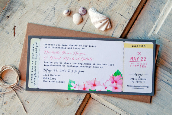 Wedding invitation tropical boarding pass with hibiscus wedding invitation tropical boarding pass with hibiscus destination wedding design fee new stopboris Gallery