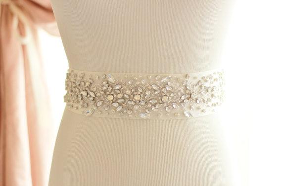 Mariage - Crystal Rhinestone Bridal Sash, rhinestone wedding belt - New