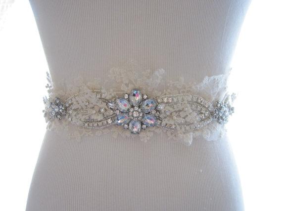 Wedding - Rhinestone and Lace Bridal Belt, Bridal Sash, Wedding Sash, Beaded Rhinestone Applique - New