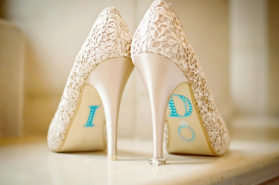 "Mariage - BLUE ""I Do"" Wedding Shoe Rhinestone Applique - New"