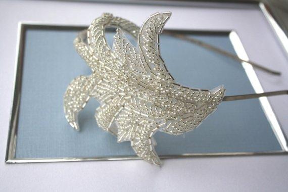 Wedding - Silver Beaded Applique Headband - New