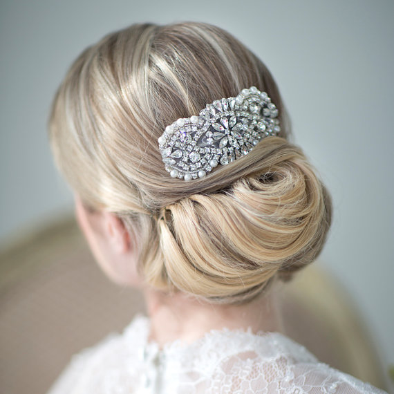 Mariage - Bridal Hair Comb, Wedding Hair Accessory, Pearl and Crystal Hair Comb - New