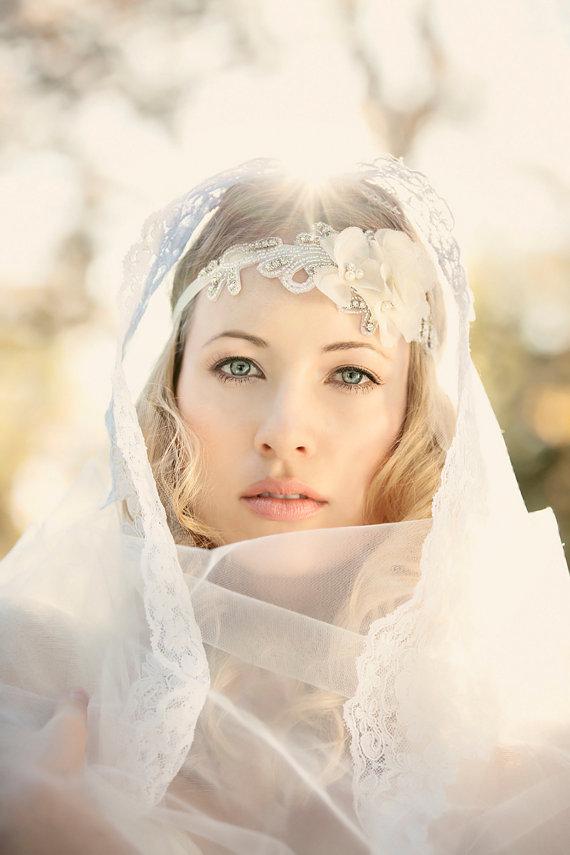 Свадьба - Bridal Headband, Floral Headband, Ivory Rhinestone Headband, Wedding Headpiece, Fascinator - New