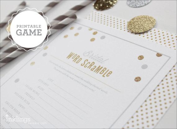زفاف - Printable Bridal Word Scramble Sheet // Choose your color - New