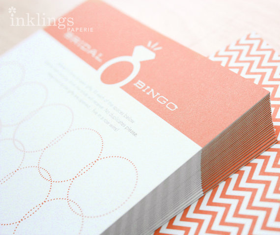 زفاف - 12 Bridal Bingo Cards  //  Tangerine - New
