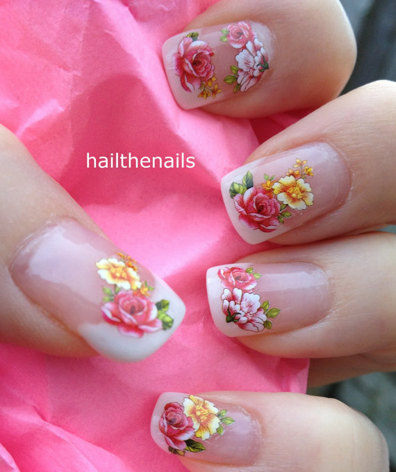 Nail Wraps Nail Art Water Transfers Decals French Roses Flowers
