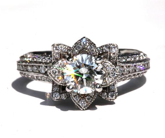 Свадьба - MILGRAIN - Gorgeous UNIQUE Flower Lotus Rose Diamond Engagement Ring - 2.50 carat - 14K white -  rose