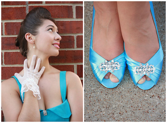 Wedding - Wedding Shoes - Blue Wedding Shoes - Dyeable - Choose From Over 100 Colors - Heel Is 2.5 Inches -  Crystal - Bridal - Peep Toe - By Parisxox - New