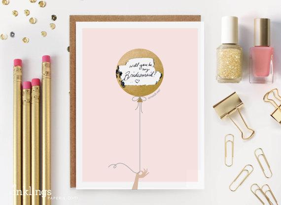 "زفاف - 6 Scratch-off ""Will You Be My Bridesmaid / Maid of Honor?"" Write-in Invitations // Gold Balloon // Set of 6 - New"