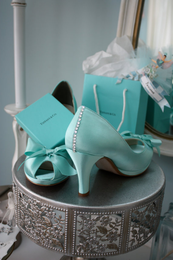 Wedding - Wedding Shoes - Tiffany Blue - Crystals - Tiffany Blue Wedding - Dyeable Choose From Over 100 Colors - Wide Sizes Available - Shoes Parisxox - New