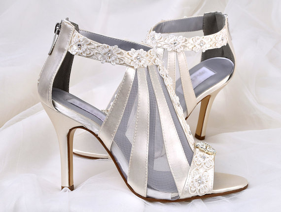 Wedding Shoes Vintage Lace 3 5 Heels Swarovski Crystals Women S Bridal Custom Dyed Colors