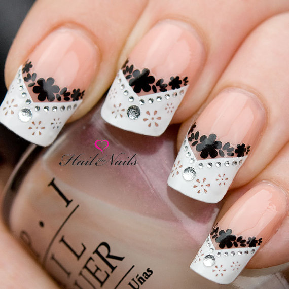 French Nail Art Tips Wrap Stickers Black Daisy Inc