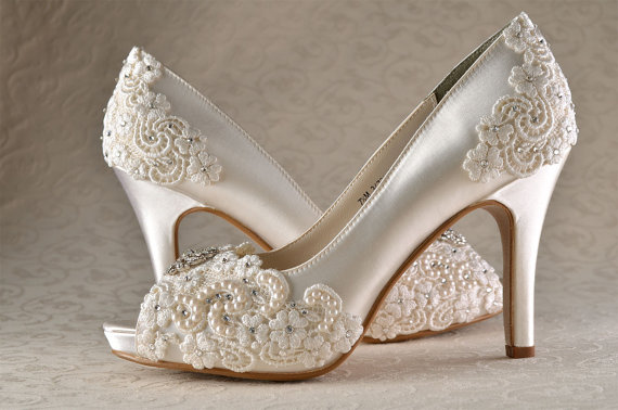 Wedding Shoes - Custom 250 Color Choices- PB525 Vintage Wedding Lace Peep  Toe 3 1 4