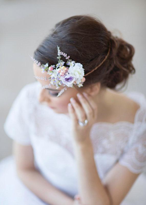 Свадьба - lilac bridal hair accessories -  floral circlet