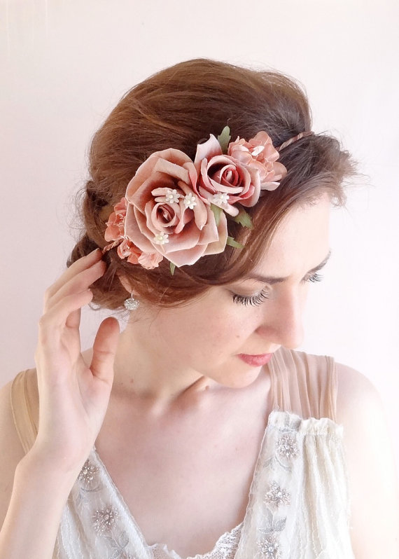 Wedding - vintage style floral crown -  dusty pink flower crown