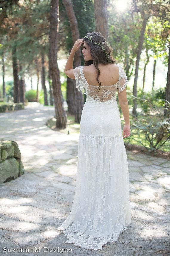 Wedding - Cream Bohemian Wedding Dress Beautiful Lace Wedding Long ...