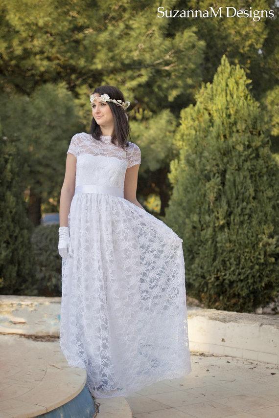 Long Sleeve 50s Wedding Dress : Long lace wedding gown s white dress handmade bridal