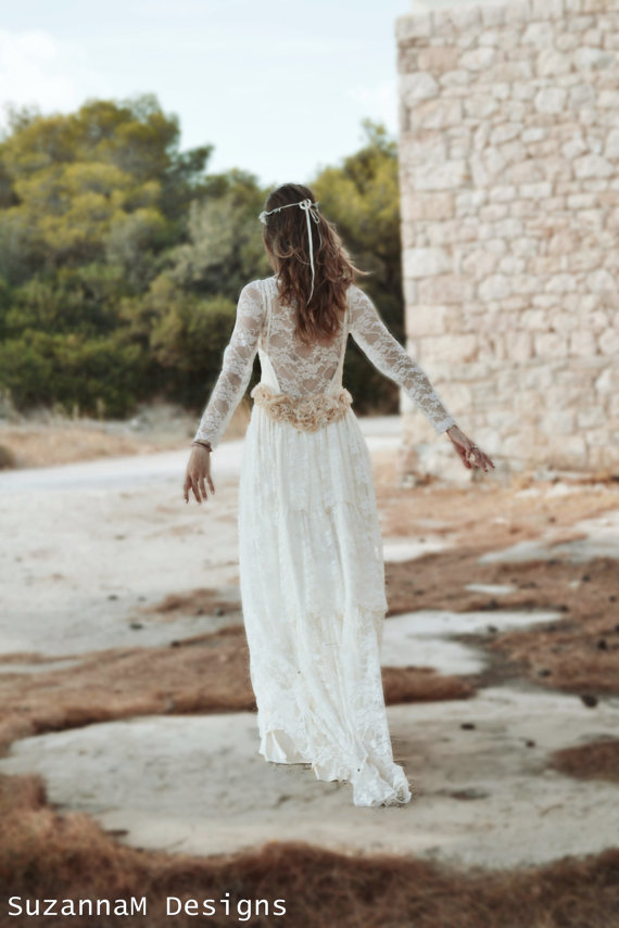 Hochzeit - Ivory Lace Bohemian Wedding Dress Long Bridal Wedding Gown Handmade by SuzannaM Designs - New