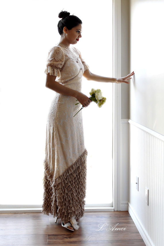 Wedding - Custom Made Antique Victorian Style Lace Wedding Bridal Dress Available in Champagne, Ivory or Pure White - New