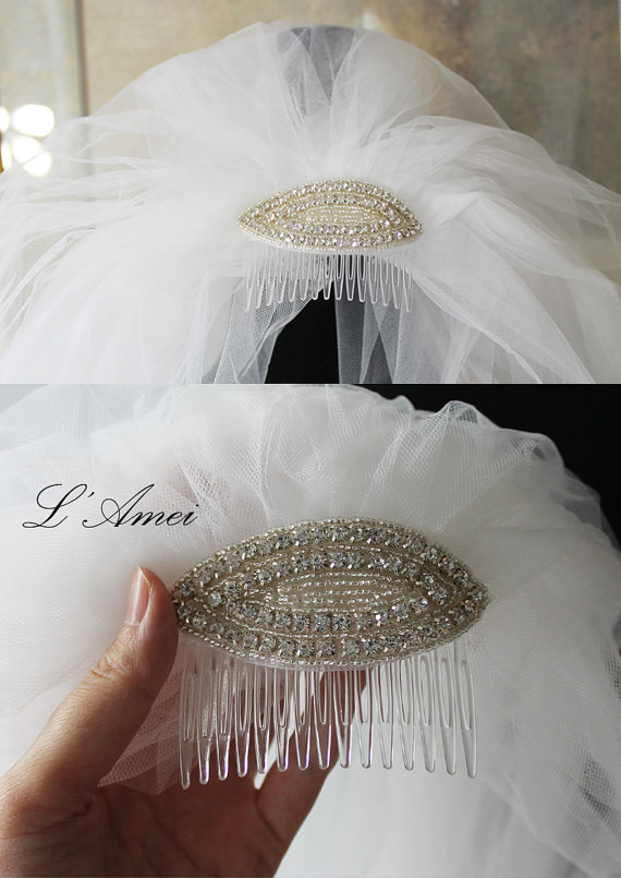 Mariage - Elbow Length Double Tulle Ivory Bridal Veil with Rhinestone Comb - New