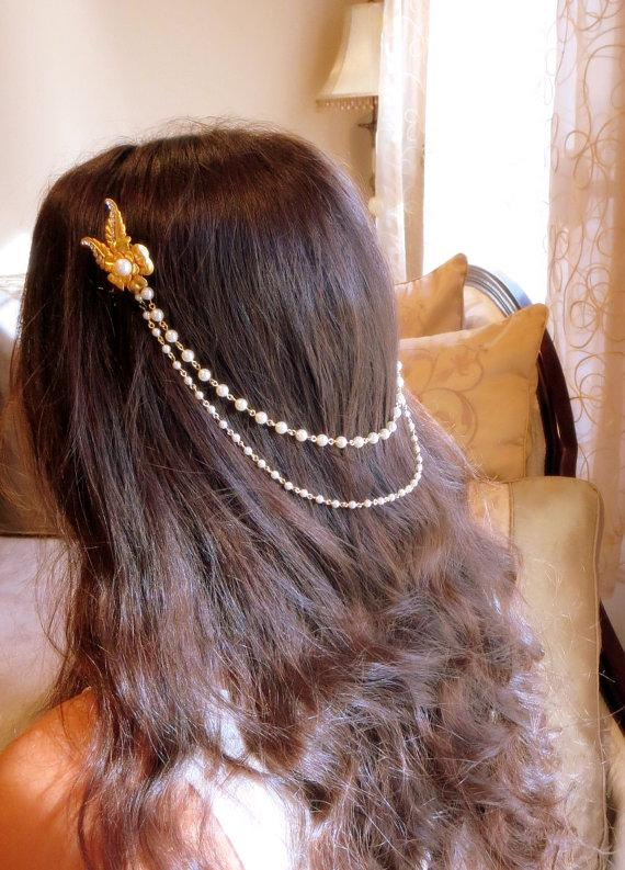 Mariage - Gold Wedding headpiece, Bridal hair accessory, Pearl headpiece, Wedding hair chain, Bridal hair comb, Vintage style headpiece - New