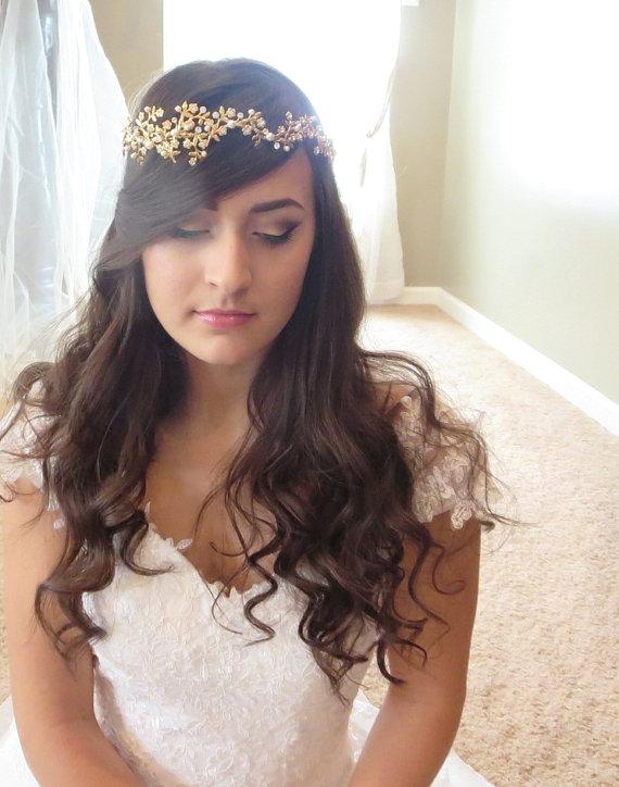 Mariage - Gold Bridal headpiece -  Bridal headband