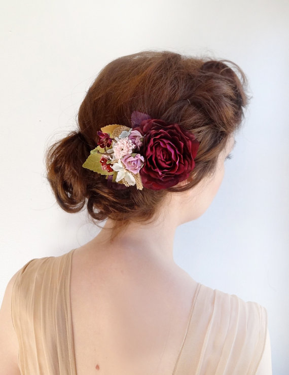 Mariage - bridal hair accessories -  aubergine wedding hairpiece