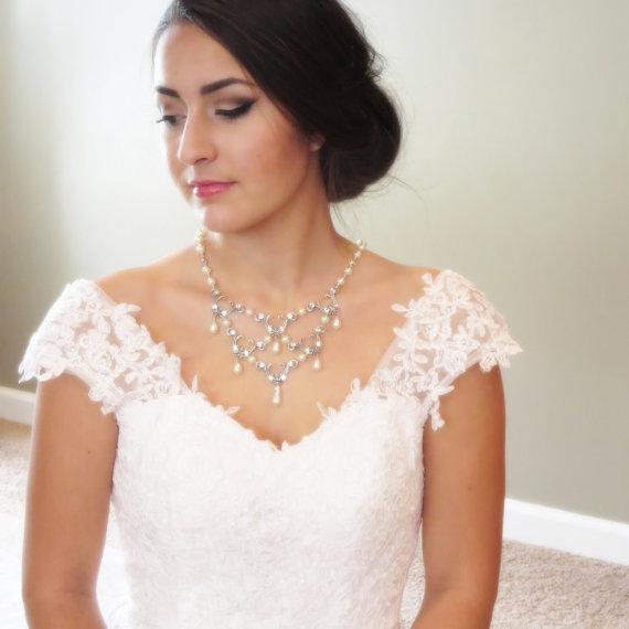 Bridal Statement Necklace Pearl Wedding