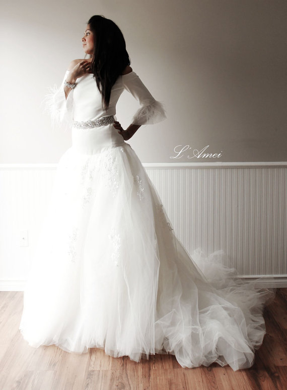 High end long sleeve fitted wedding dress with large skirt for Simply elegant wedding dresses