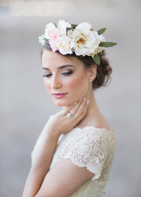 Ivory Wedding Flower Crown Bridal Headpiece 2227135