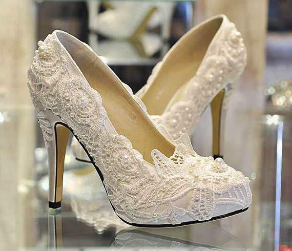 Pearl White Lace Daisy Bridal Shoes Ballet Flat