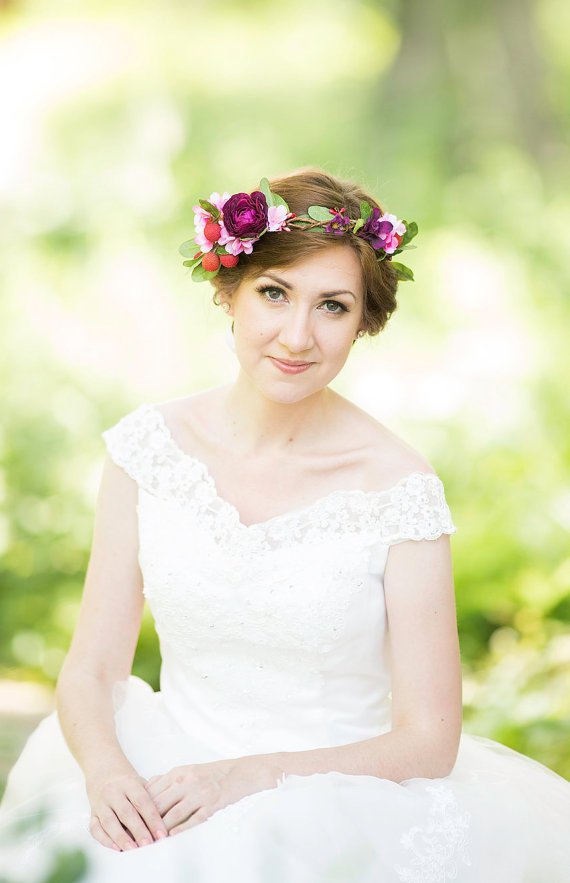 Bridal Flower Crown Wedding Hair Wreath Fl Head Colorful Hairpiece Countryside Eggplant Purple Pink New