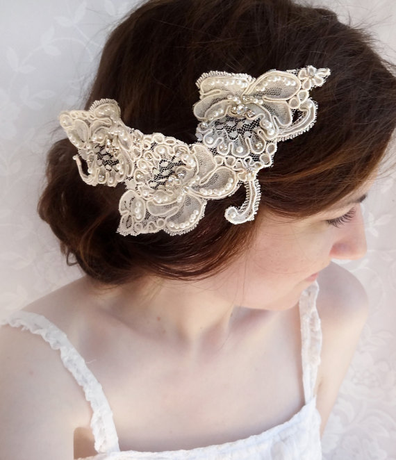 Свадьба - lace wedding hair accessories, rhinestone embellished hairpiece, Alencon lace, lace bridal headpiece - ISABELLA - luxury wedding hair comb - New